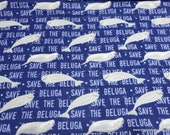 Flannel Fabric - Save the Beluga - By the yard - 100% Cotton Flannel