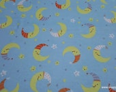 Flannel Fabric - Happy Moon Stars - By the yard - 100% Cotton Flannel