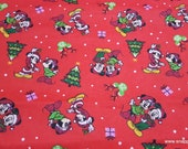 Christmas Flannel Fabric - Mickey Minnie Home for the Holidays - By the yard - 100% Cotton Flannel
