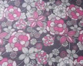 Flannel Fabric - Gray Pink Floral on Gray - By the yard - 100% Cotton Flannel
