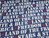Flannel Fabric - Land of the Brave - By the yard - 100% Cotton Flannel