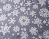 Christmas Flannel Fabric - Snowflakes Gray Luxe - By the yard - 30% Cotton Flannel, 70 Rayon
