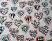 Flannel Fabric - Cut Out Hearts - By the yard - 100% Cotton Flannel