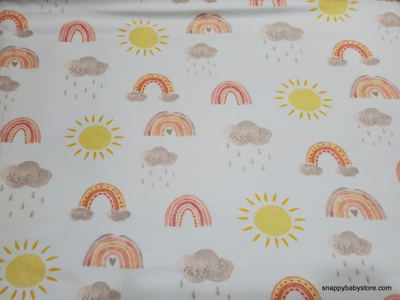 Flannel Fabric - Rainbows and Suns - By the yard - 100% Cotton Flannel