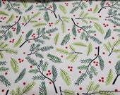 Christmas Flannel Fabric - Mistletoe and Holly - By the yard - 100% Cotton Flannel