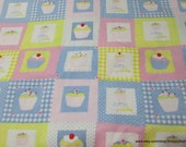 Flannel Fabric - Cupcake Muffin Blocks - By the yard - 100% Cotton Flannel