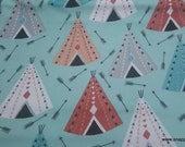 Flannel Fabric - Arrows and Tents - By the yard - 100% Cotton Flannel