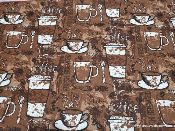 Flannel Fabric - Cups of Coffee - By the yard - 100% Cotton Flannel