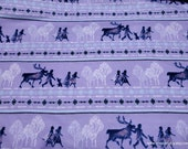 Character Flannel Fabric - Disney Frozen 2 Friends Stripe - By the yard - 100% Cotton Flannel