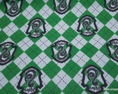 Character Flannel Fabric - Harry Potter Argyle and Slytherin - By the yard - 100% Cotton Flannel