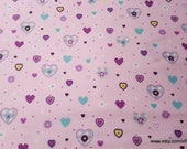 Flannel Fabric - Eloise Hearts - By the yard - 100% Cotton Flannel