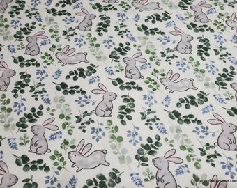 Flannel Fabric - Bunny Allover - By the yard - 100% Cotton Flannel