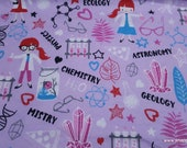 Flannel Fabric - Girl Chemist - By the Yard - 100% Cotton Flannel