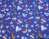 Flannel Fabric - Ahoy Matey Nautical Blue - By the yard - 100% Cotton Flannel