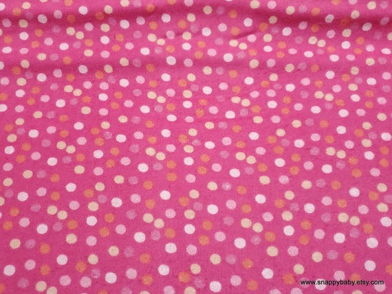 Flannel Fabric - Dots Sprinkled on Pink - By the yard - 100% Cotton Flannel