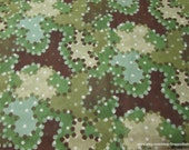 Flannel Fabric - Camo Dots Green Brown Tan - By the yard - 100% Cotton Flannel