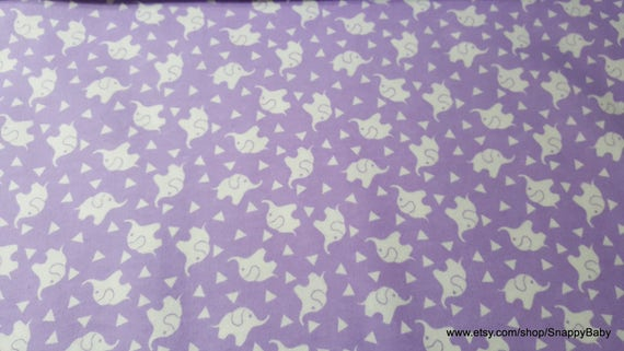 Flannel Fabric - Elephant Confetti Lavender Lily - By the yard - 100% Cotton Flannel