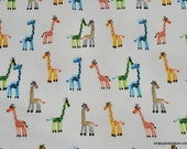Premium Flannel Fabric - Multi Giraffes on White Premium - By the yard - 100% Cotton Flannel