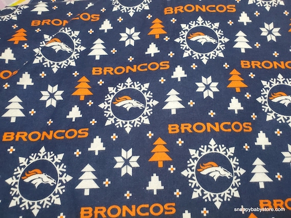 Christmas Team Flannel Fabric - Denver Broncos Christmas - By the yard - 100% Cotton Flannel