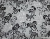 Flannel Fabric - Horses Running Gray - By the yard - 100% Cotton Flannel