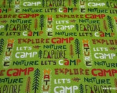 Flannel Fabric - Lets Camp Words - By the yard - 100% Cotton Flannel