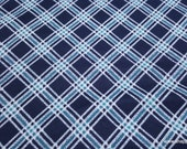 Flannel Fabric - Baby Whale Plaid - By the yard - 100% Cotton Flannel