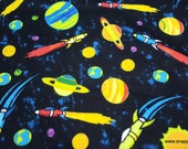 Flannel Fabric - Spaceship and Planets Bright - By the Yard - 100% Cotton Flannel
