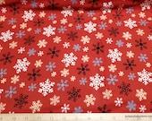 Christmas Premium Flannel Fabric - Jingle Bell Crossroads Multi Snowflake Red Premium - By the yard - 100% Premium Cotton Flannel