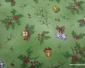 Christmas Premium Flannel Fabric - Christmas Joys Mistletoe and Bells on Green Premium  - By the yard - 100% Cotton Flannel