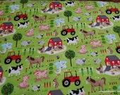 Flannel Fabric - Farm Animals Green - By the yard - 100% Cotton Flannel