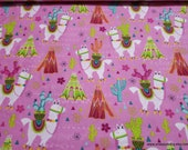 Flannel Fabric - Aztec Llama on Pink - By the yard - 100% Cotton Flannel