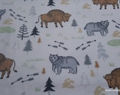 Flannel Fabric - Boone All Over Buffalo - By the yard - 100% Cotton Flannel