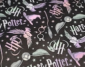 Character Flannel Fabric - Harry Potter Tossed Elements on Black - By the yard - 100% Cotton Flannel