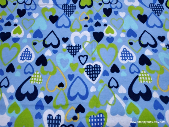 Flannel Fabric - All My Love Blue  - By the yard - 100% Cotton Flannel