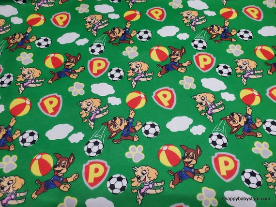 Character Flannel Fabric - Paw Patrol Sports - By the yard - 100% Cotton Flannel