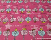 Flannel Fabric - Ballet School Fuschia - By the Yard - 100% Cotton Flannel