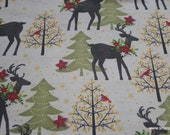 Christmas Flannel Fabric - Holiday Stag with Poinsettia - By the yard - 100% Cotton Flannel