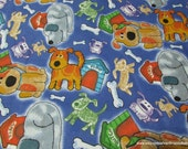Flannel Fabric - Dogs and Doghouses - By the yard - 100% Cotton Flannel