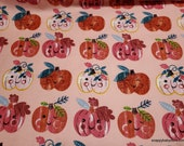 Flannel Fabric - Happy Pumpkins - By the yard - 100% Cotton Flannel