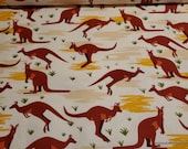 Flannel Fabric - Kangaroos - By the yard - 100% Cotton Flannel