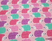 Flannel Fabric - Stacked Colorful Hedgehogs on Pink - By the yard - 100% Cotton Flannel