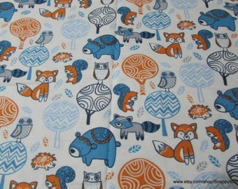 Flannel Fabric - Folk Forest Creatures  - By the yard - 100% Cotton Flannel