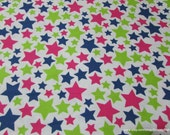 Flannel Fabric - Stars Lime Navy Pink - By the yard - 100% Cotton Flannel