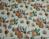 Flannel Fabric - Watercolor Llama - By the yard - 100% Cotton Flannel