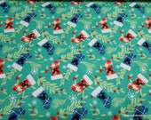 Christmas Flannel Fabric - Mickey Mouse Stockings - By the yard - 100% Cotton Flannel