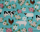 Flannel Fabric - Floral Farm Animals - By the yard - 100% Cotton Flannel