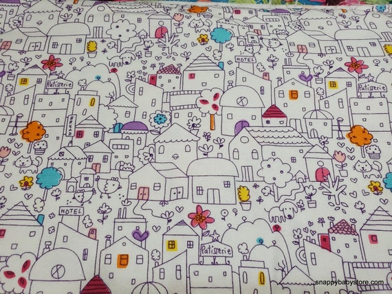 Flannel Fabric - Cute Houses - By the Yard - 100% Cotton Flannel