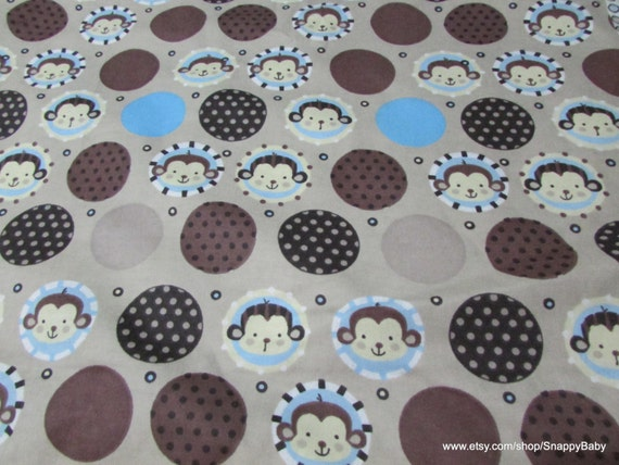 Flannel Fabric - Monkey Dots - By the yard - 100% Cotton Flannel