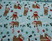 Christmas Flannel Fabric - Holiday Sloth - By the yard - 100% Cotton Flannel