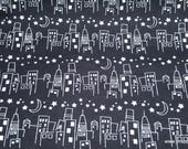 Flannel Fabric - Black and White Cityscape- By the Yard - 100% Cotton Flannel